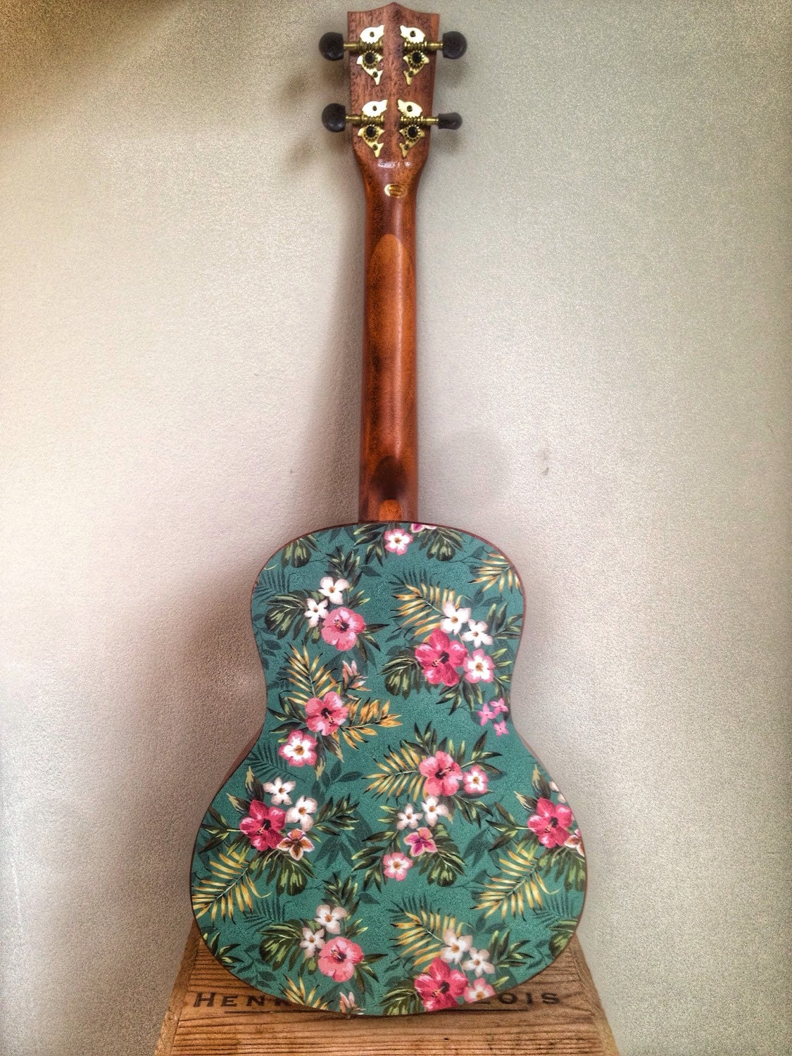 Ukulele Decal Of Vintage Hawaiin Flower And Palm By