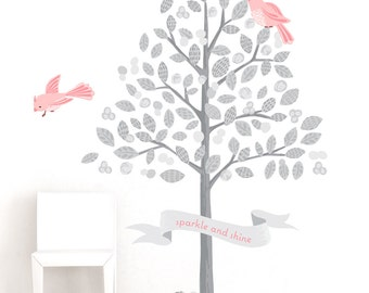Tree Fabric Wall Decal - Sweet Birds - Blush - Mej Mej