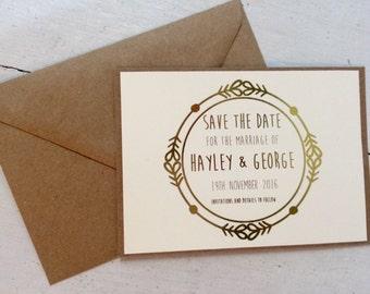 guardar la fecha, hoja de oro, boho de invitación de boda, invitación de la boda rústica, boda rústica elegante invitación, bohemio