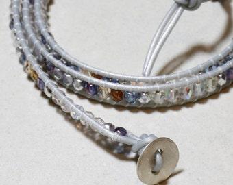 Beaded triple wrap bracelet with handmade silver button