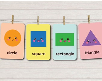 Shapes Flash Cards, Printables, Nursery flash cards, Educational cards, Learning flash cards, Flashcards for children