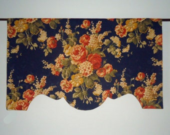 "35"" - 37"" Custom Valance Midnight Blue Navy Damask Cabbage Rose Shaped Scalloped, French Door or Narrow Window"
