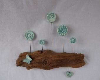 Blue Butterfly and Flower Woodland Wall hanging