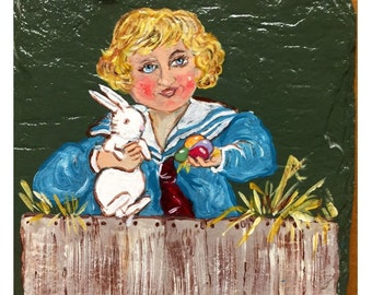 Victorian boy with rabbit