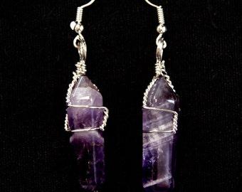 Amethyst Earrings, Dangle Earrings, Amethyst Gemstone, Gifts for Women, Purple Gemstone, Amethyst, Twisted Wire, Purple Earrings,Purple