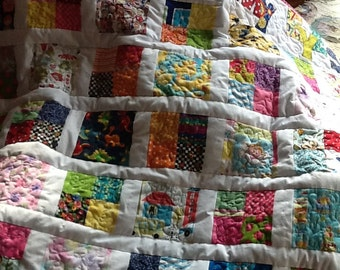 Girl's I-Spy-With-My-Eyes Handmade Quilt Novelty Print Fabrics with book