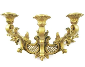 Wall Sconce Dart Industries 1966// 3 Arm Wall Sconce// Gold #308E