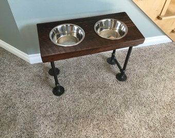 Industrial Reclaimed Barnwood Raised Dog Bowl Feeder