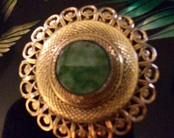 Vintage Signed Lieba Jade Scarf Clip Pin Brooch