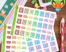 Cleaning Laundry Day Washing Day Clothes Sticker Set - Planner Stickers - Planner Decorations - Kikki-K & Erin Condren Sticker Sets