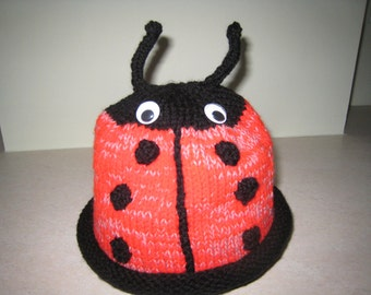 Childrens Ladybird Hat - hand knitted, one size, wool blend, mainly red & black