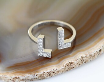 Real Solid Gold Diamond Initial Ring, Initial Jewelry, Personalized Jewelry, Initial Ring, Everyday Wear, 14K&18K Gold Ring, Letter Ring