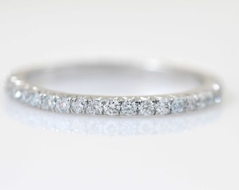 Thin Diamond Eternity Band, Wedding Ring, Matching Band, Everyday Ring, Stacking Ring, Diamond Ring