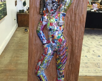 Wood Relie Carving Covered with Aluminum Cans