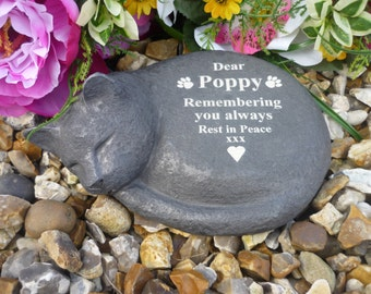 Cat Memorial - Personalised - Weatherproof - Sleeping Cat