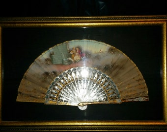 Hand Painted Victorian Framed Fan