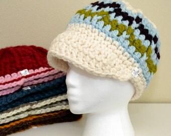 Crochet Striped Visor Beanie