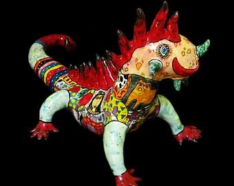 Iguana, reptile, lizard, pangolin, large lizard, big iguana, colorful iguana, ceramic iguana, figure lizard, figure iguana, clay iguana