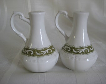 J & G Meakin - Sterling - Renaissance Green - Salt and Pepper shakers with scroll handles
