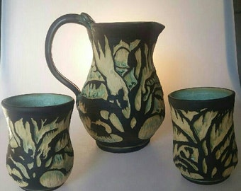 Lowcountry Spanish Moss Tree Pitcher and cup set