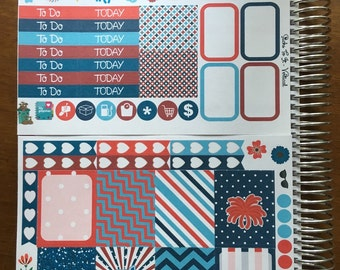 Patriotic July Mini Weekly Set ECLP Horz and Vert Planner Stickers - Full Week Set Floral ECLP Mambi Inkwell Press Filofax Kikki K Happy Lif