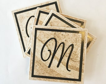 Personalized Tile Coaster Set with Monogram - Christmas Gift - Cup Coaster Design - Set of 4 Drink Coaster Set