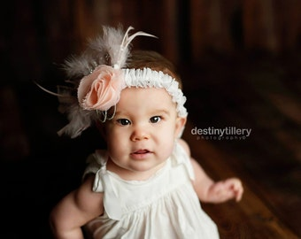 Heirloom Pink Flower and Feather Headband