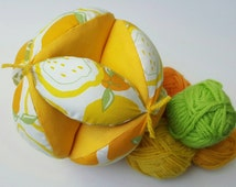 Baby toy ball, montessori ball, fabric ball, easy grab ball, toddler and child toy, puzzle ball (yellow lemon print)