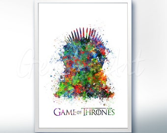 Game of Thrones Iron Throne Watercolor Art Poster Print - Game of Thrones Art Watercolor Painting - Home Decor - House Warming Gift