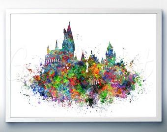 Harry Potter Hogwarts Castle Watercolor Art Poster Print - Wall Decor - Watercolor Painting - Home Decor - Kids Decor - Nursery Decor