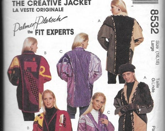 Pattern CUT Women's The Creative Jacket- McCalls 8532  - Palmer Pletsch the Fit Experts Series - Dated 1993 -Sizes Large (16 18)