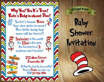 Dr. Seuss Baby Shower Invitation, Dr. Seuss Baby Shower, Dr. Seuss Shower Invite, Dr. Seuss Baby Shower Invite, For Boy or Girl