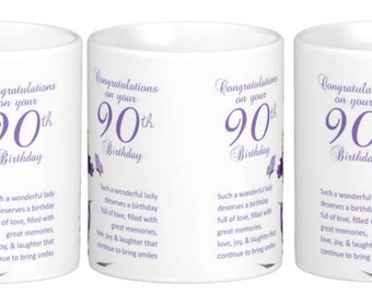 90th birthday gift mug, with Iris, butterflies and a lovely verse, double sided, Gift Mug - other ages available