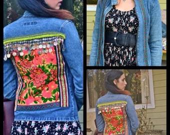 Upcycled gypsy styled embellished denim jacket