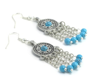 Earrings made of pewter and turquoise (imitation), Reconstruction of the IX century, The gift for girl