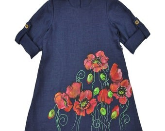 Last size! Handmade Navy Linen Dress with Poppies