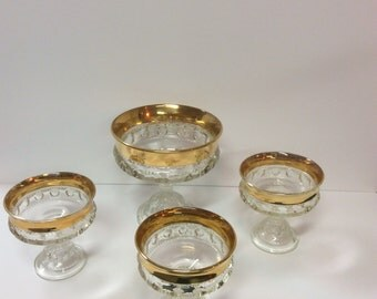 Indiana Glass Kings Crown Thumbprint Pattern Set Of 4 Compotes