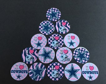 Dallas Cowboys Pink Buttons Set of 15