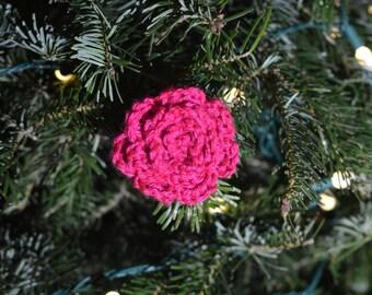 Magenta Crochet Rose Clip