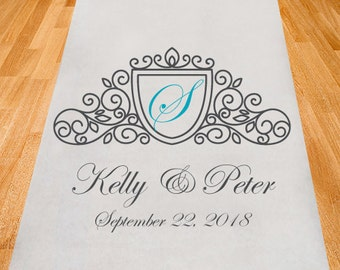 Elegant Seal Personalized Aisle Runner - Wedding Ceremony Aisle Runner - Plain White Aisle Runner (PPD1-A)