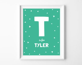 Nursery Printable Personalized Letter and Name, Green Nursery Wall Art Decor, Personalized Baby Shower Gift, Digital Download *DIY PRINT*
