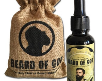 Beard Oil Conditioner and Burlap Sack By BEARD of GOD | Organic | Made to Order | 1FL.OZ | 18 Signature Scents