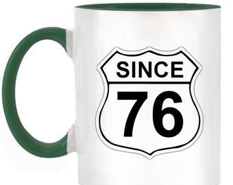 US Route 66 Roadsign 76 2-Tone Mug with matching handle and inner - 10 colours available
