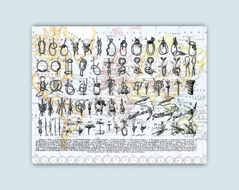 Nautical Art, Knots print, Sailors Knots Art, Map Art, Marine knots poster on old maps of N. America vintage map and mappamundi reproduction