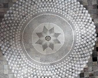 Vintage White Crochet Tablecloth