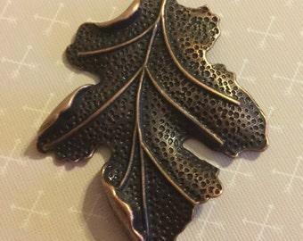 Bronze copper OAK LEAF pendant