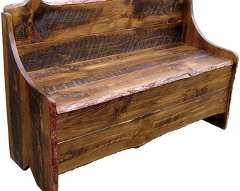 Rustic Pine Bench with Storage 4' long