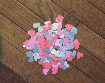 Heart shape confettii -- pink/coral/glitter