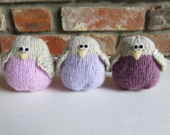 Soft Pink/Lilac/Grape Hand Knitted Bird