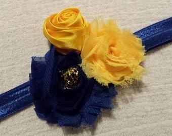 Baby Headband, Blue/Yellow/Gold